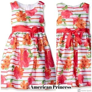 American Princess Dress Girl Floral Stripe A-line